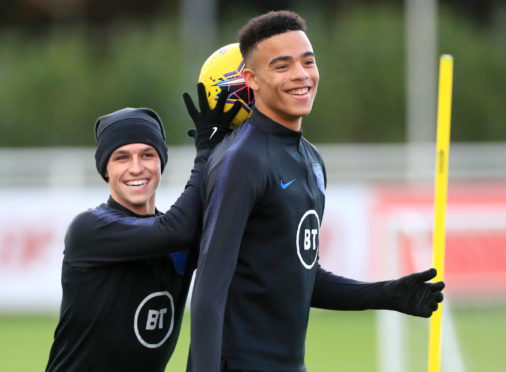 England's Mason Greenwood (right) and Phil Foden.