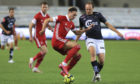 Aberdeen's Ryan Hedges and Viljar Vevatne of Viking compete for the ball