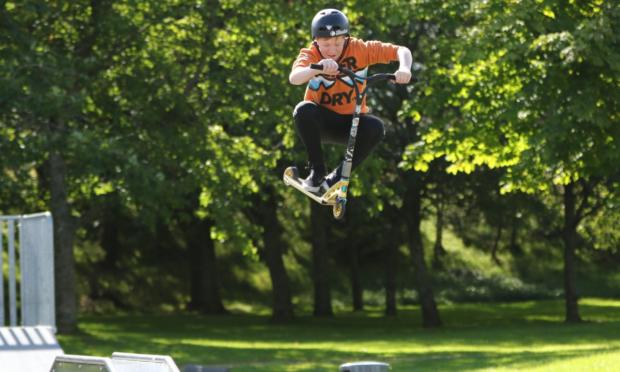 Youngster Marc Mchardy having a great time at the skate park. Picture courtesy of Leanne Paton.