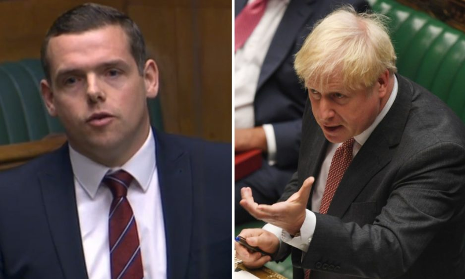 Douglas Ross, left, defended his backing for Boris Johnson's plans, which the Government has already conceded would break international law.