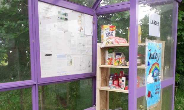 How the bus shelter larder looked before it was vandalised. Picture by Soirbheas