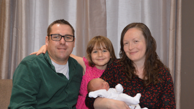 Chris and Louise Evans with daugher Kayla and new son Calum