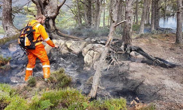 The fire on Eilean Eachainn, one of the Loch Maree Islands.