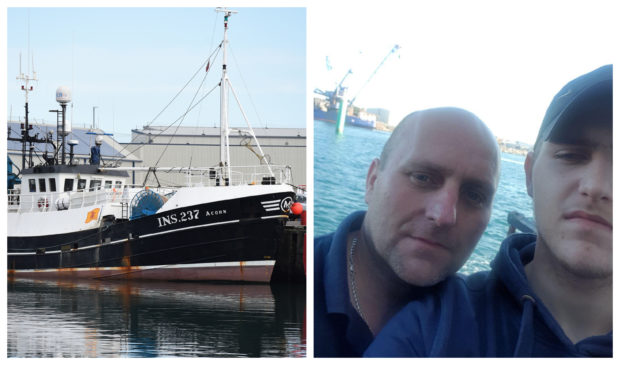 John McTaggart, left, died after he went overboard from the Acorn, pictured, on September 29. His son Craig, right, wants to keep working at sea in his memory.
