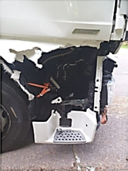A man has been arrested after driving a lorry that was in a dangerous condition