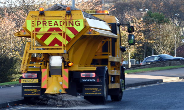 Gritter on the roads of Tullos, Aberdeen.