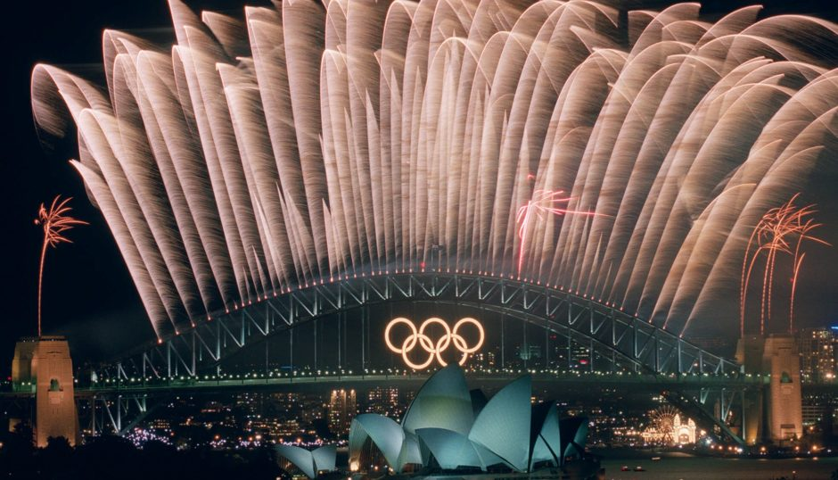 The closing ceremony fireworks for the 2000 Olympic Games erupt over the Sydney Harbour Bridge.