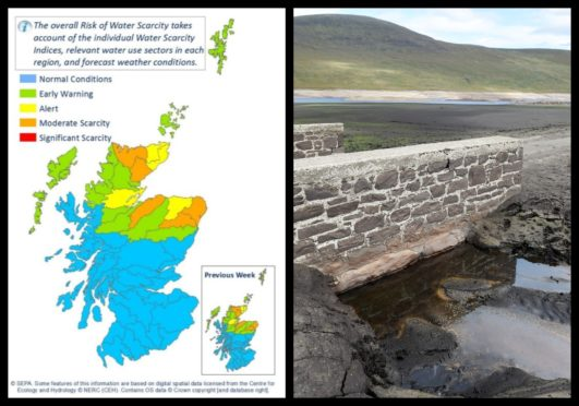 Sepa's map showing water scarcity levels and right: an old stone bridge usually submerged in Loch Glascarnoch.