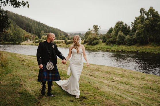 Keri and Robbie Gordon tied the knot by the banks of the River Spey near Huntly