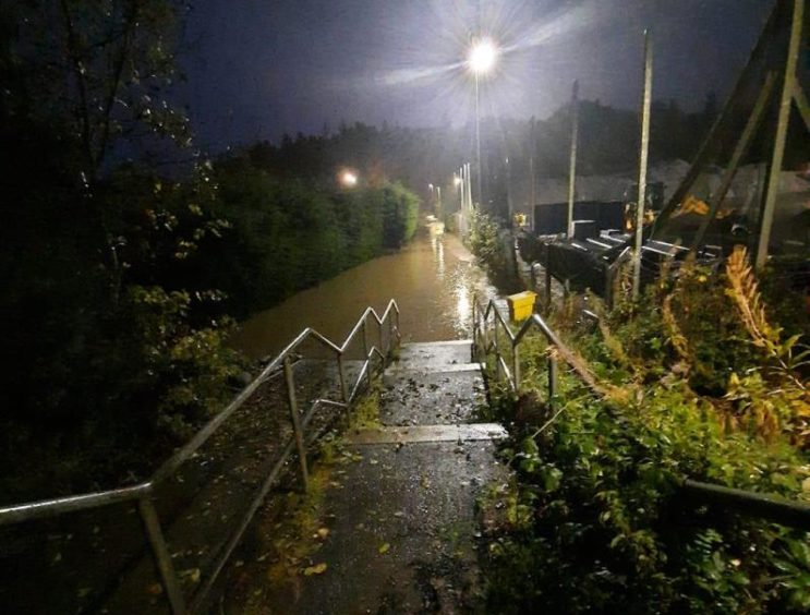 Flooding in Ellon near Hospital Road.