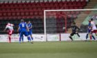Callum Fordyce of Airdrie heads home to put his team 2-0 ahead.