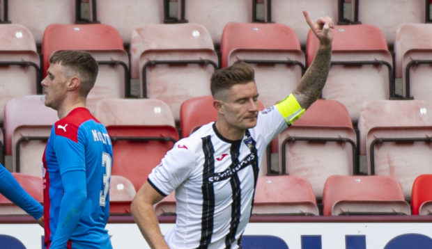 Euan Murray celebrates netting for Dunfermline.