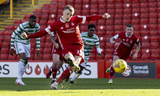 Aberdeen's Lewis Ferguson scores to make it 1-0 during a Scottish Premiership match between Aberdeen and Celtic.