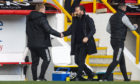 Derek McInnes shakes hands with Neil Lennon after the Aberdeen v Celtic clash.