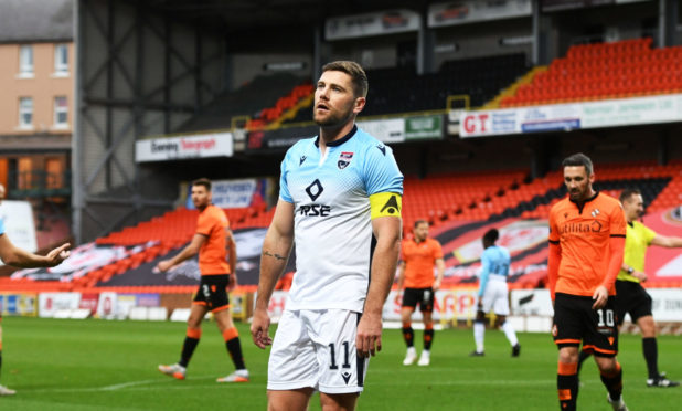 Iain Vigurs looks dejected after conceding a penalty against Dundee United.