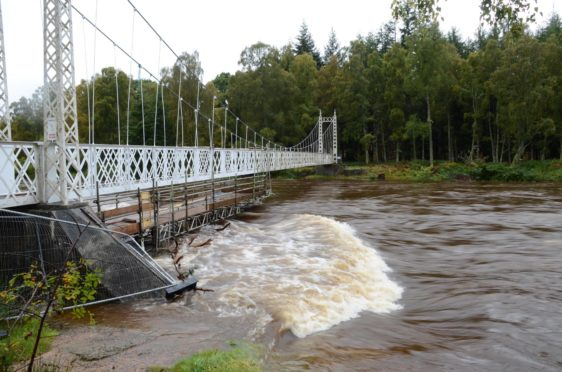 Cambus O'May Bridge on Saturday after serious flooding.