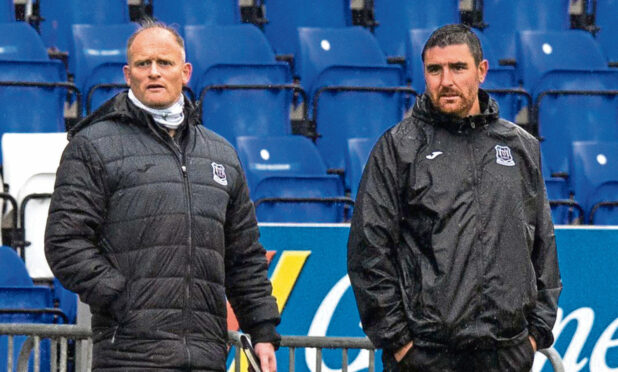 Elgin City manager Gavin Price and assistant manager Keith Gibson.