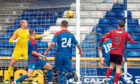 Elgin City's Kane Hester fires a powerful strike past ICT keeper Mark Ridgers to open the scoring.