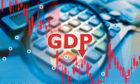 Gross domestic product. Magnifying glass over the GDP logo. Charts next to the calculator. Concept - reduction in government GDP. Concept - stop the world economy. Charts Predict Reduction.; Shutterstock ID 1714617151