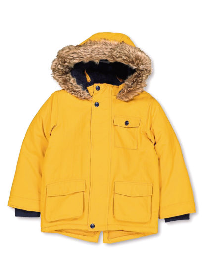 Yellow shower resistant parka, £20, Tu Clothing.