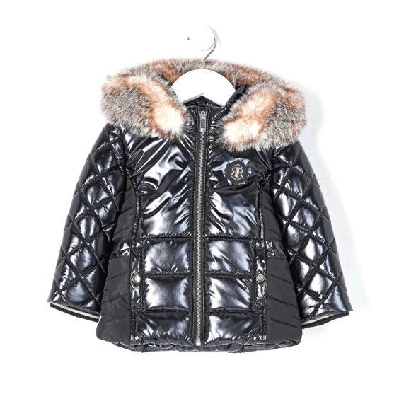 Shiny coat with fur trim, £38, River Island