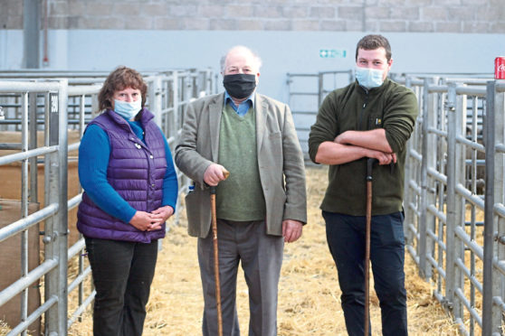 Mairi, Tom and Robert Paterson, who sold the top priced ram at the Perth Ram Society sale.