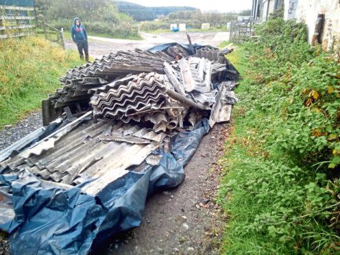 Asbestos tipped at Broats Farm steading, Annan.