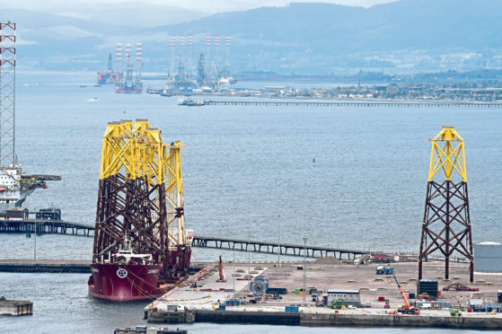 Oil rigs parked up in the Cromarty Firth. Picture by Sandy McCook.