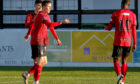 Kane Hester celebrates putting Elgin 3-0 up against Brechin.