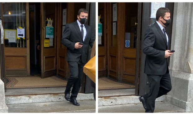 Robert Snelling leaving Aberdeen Sheriff Court.