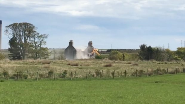 The earlier part-demolition of Wellington Place farm house, owned by Score Group.
