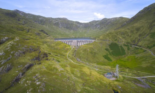 Cruachan Dam, reservoir and sub-station.