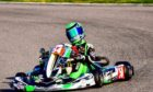 Dylan, 14, in action on the track, where he can reach speeds of up to 75mph