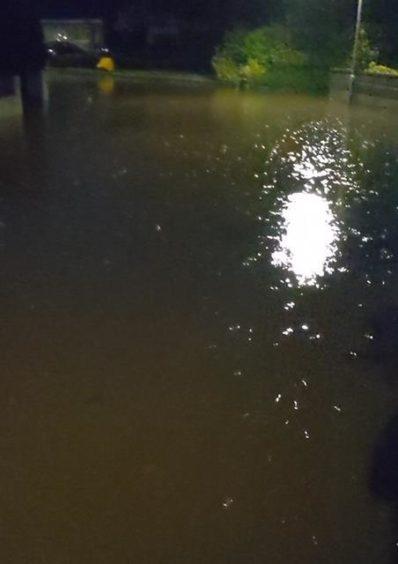 Flooding in Meiklemill in Ellon.