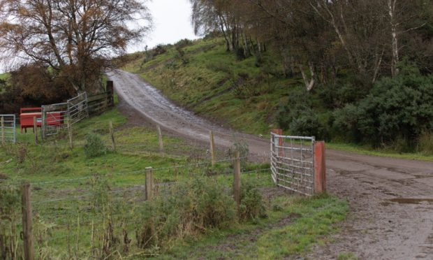 Access track to properties where the robbery took place, at Foxhole, Kiltarlity.