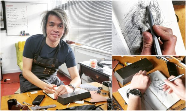Frank To is creating artwork from the pen which is made of illegal firearms