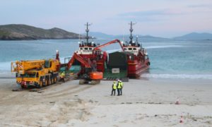 The water treatment works arriving in Harris last year.