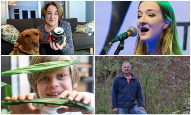 Some of the Inspiring Aberdeenshire 2020 winners, clockwise from top-left: Marion Montgomery, Iona Fyfe, Pieter voor de Poorte and Thomas Truby.