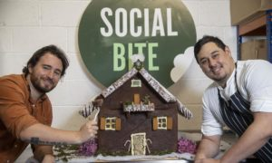 Josh Littlejohn and head chef of Social Bite Richard Leece at the launch of Social Bite's new brownie delivery service.