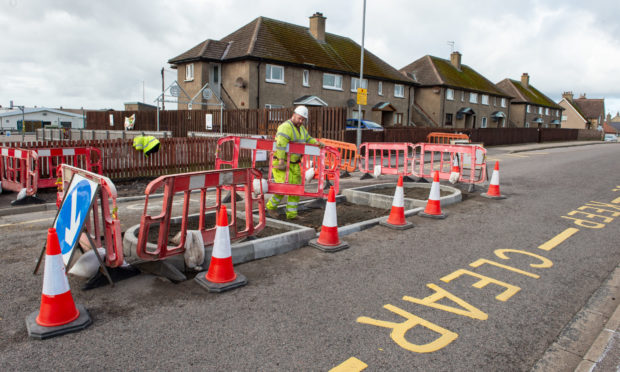 Work being started by Moray Council on a new island type school crossing outside the St Gerardine's School.