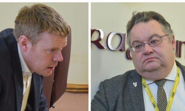 Conservative group leader Tim Eagle and council leader Graham Leadbitter.