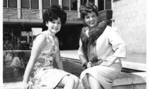 Coronation Street stars Jennifer Moss, left, who played Lucille Hewitt, alongside Pat Phoenix, who played Elsie Tanner, outside Grampian TV, Queen's Cross in 1963.