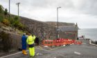 Church Street Gardenstown where a large crack in a wall has been identified as a potential risk resulting in a road closure. Pictures by JASON HEDGES