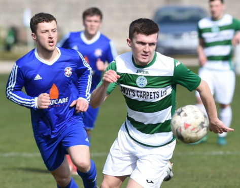 Callum Murray playing for Buckie Thistle.  Picture by Jason Hedges