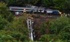 The train derailment scene at Carmont area near Stonehaven.