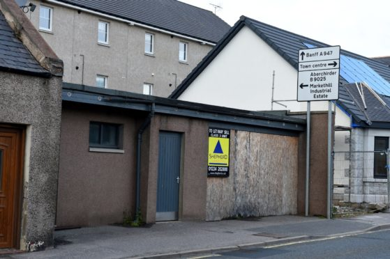 The former toilet block at 15 Duff Street, Turriff. Picture by Kenny Elrick.