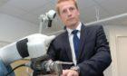 Consultant orthopaedic surgeon Martin Mitchell demonstrating the Stryker Mako at BMI Albyn Hospital.