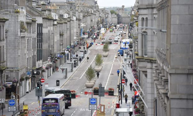 Union Street, pedestrianised between Market Street and Bridge Street, taken from Town House balcony.