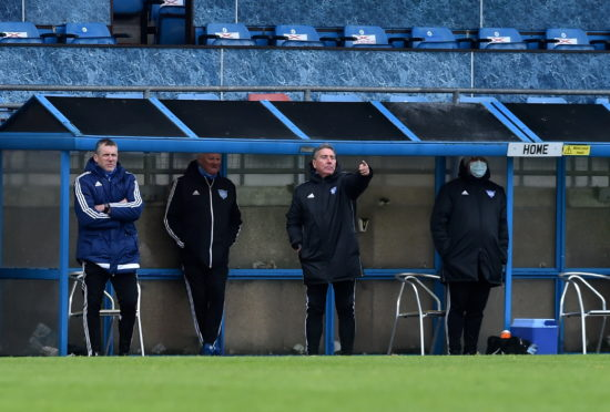 Jim McInally instructs his side.  Picture by Scott Baxter