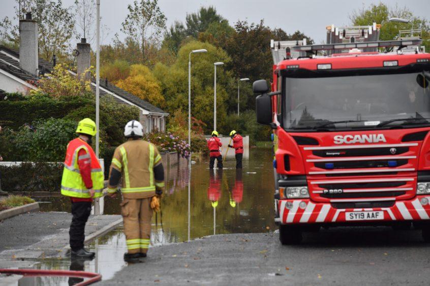 Bruce Crescent, Ellon, flooding. Kami Thomson. 22/10/20.